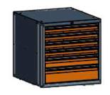 99551581 Szafka typ N, 6 szuflad 150+100+75+75+75+75 (wymiary: 625x600x690 mm)