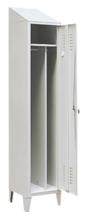 99552194 Szafka ubraniowa 0,8mm na nóżkach ze skośnym daszkiem, zamek na kłódkę, 1 drzwi (wymiary: 2140x400x490 mm)