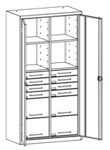 99552492 Szafa warsztatowa, 4 półki, 8 szuflad (wymiary: 1950x1000x500 mm)