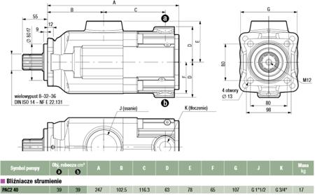 DOSTAWA GRATIS! 01539128 Pompa hydrauliczna tłoczkowa dwustrumieniowa Hydro Leduc (obj. geometryczna: 39+39cm³, prędkość obrotowa: 1300min-1 /obr/min)