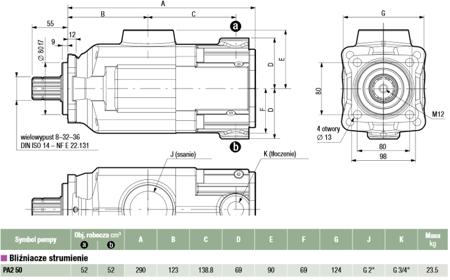 DOSTAWA GRATIS! 01539130 Pompa hydrauliczna tłoczkowa dwustrumieniowa Hydro Leduc (obj. geometryczna: 52+52cm³, prędkość obrotowa: 1400min-1 /obr/min)