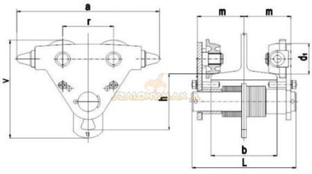 DOSTAWA GRATIS! 2203097 Wózek jedno-belkowy Z420R-A /1.0t (szerokość dwuteownika od: 50-113mm, udźwig: 1 T)