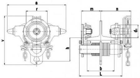 DOSTAWA GRATIS! 22038964 Wózek jedno-belkowy z napędem ręcznym Z420-B/1.0t/4m (wysokość podnoszenia: 4m, szerokość dwuteownika od: 50-220mm, udźwig: 1 T)