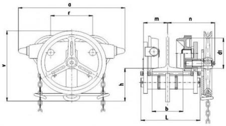 DOSTAWA GRATIS! 22038978 Wózek jedno-belkowy z napędem ręcznym Z420-B/1.6t/4m (wysokość podnoszenia: 4m, szerokość dwuteownika od: 58-226mm, udźwig: 1,6 T)