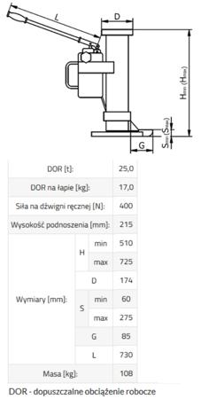 DOSTAWA GRATIS! 33917052 Podnośnik hydrauliczny BSE 25 (udźwig: 25 T)