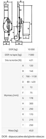 DOSTAWA GRATIS! 3398504 Podnośnik mechaniczny BSI 10 (udźwig: 10000/7000 kg)
