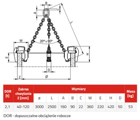 DOSTAWA GRATIS! 3398555 Zawiesie łańcuchowe 3-cięgnowe zakończone uchwytami do podnoszenia kręgów betonowych GDA 2,1 (udźwig: 2,1 T, zakres chwytania: 40-120 mm)