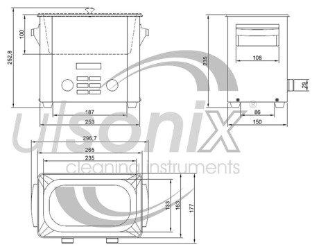 DOSTAWA GRATIS! 45643534 Oczyszczacz ultradźwiękowy Ulsonix (moc ultradźwiękowa: 160W, pojemność: 3L)