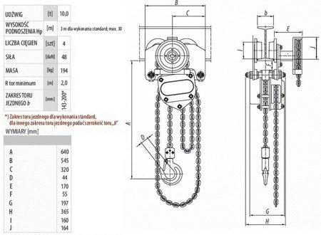 DOSTAWA GRATIS! 9588162 Wciągnik łańcuchowy przejezdny (udźwig: 10,0 T, wysokość podnoszenia: 3m, zakres toru jeznego: 143-200 mm)