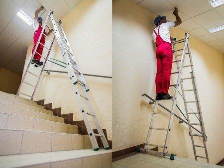 DOSTAWA GRATIS! 99674914 Drabina aluminiowa uniwersalna 3x12 na schody (wysokość robocza: 9,30m)