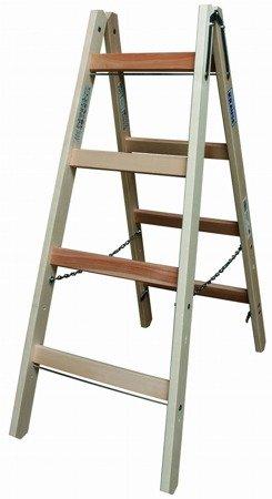 DOSTAWA GRATIS! 99675176 Drabina drewniana dwustronna KRAUSE ze szczeblami 2x4 (wysokość robocza: 2,50m)