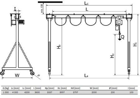 IMPROWEGLE Wciągarka bramowa skręcana miproCrane DELTA 300, wciągnik łańcuchowy elektryczny zintegrowany z wózkiem + kaseta sterująca (udźwig: 1000 kg, wysięg: 4000 mm, wysokość podnoszenia: 3337 mm) 33966200