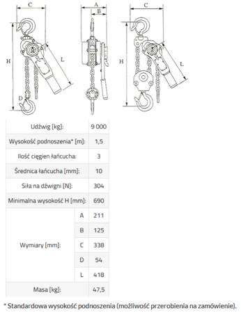 IMPROWEGLE Wciągnik łańcuchowy, rukcug MKS 9,0 3m (udźwig: 9000 kg, wysokość podnoszenia: 3 m) 33948570