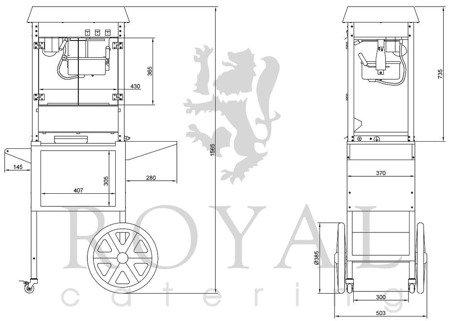 Maszyna do popcornu z wózkiem Royal Catering (moc: 1600W, wydajność: 5 - 6 kg/h) 45643432