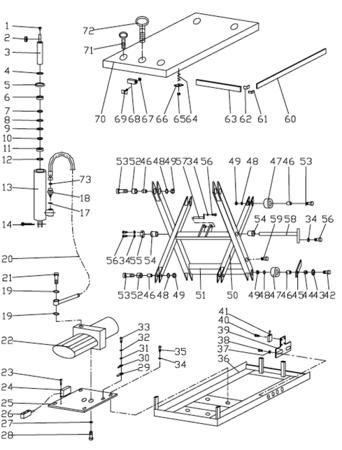 Stół podnośny elektryczny (udźwig: 1000 kg, wymiary platformy: 1000x2000 mm, wysokość podnoszenia min/max: 240-1300 mm) 31046313