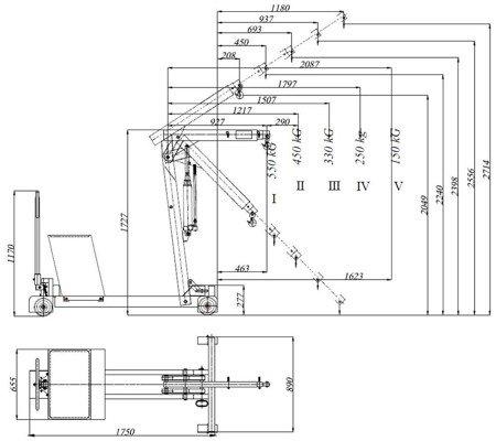 Tretok 6177835 Żuraw hydrauliczny ręczny z przeciwwagą (udźwig: od 150 do 550kg)