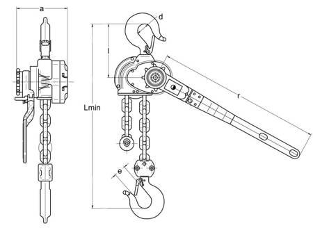 Wciągnik łańcuchowy dźwigniowy (wysokość podnoszenia: 3m, udźwig: 0,8 T) 22076834